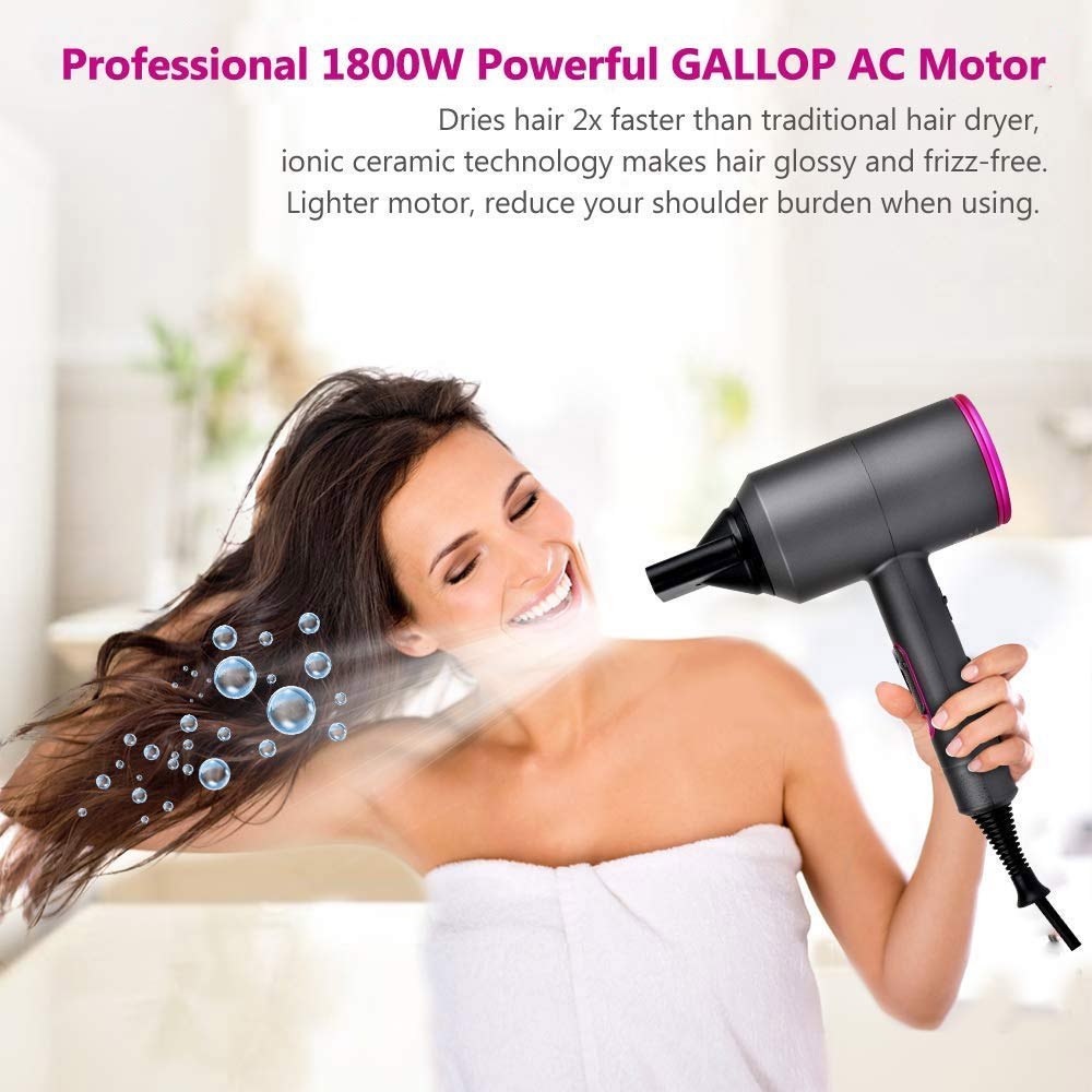 Professional 2In1 Negative Ionic Air Bush Hairdryer