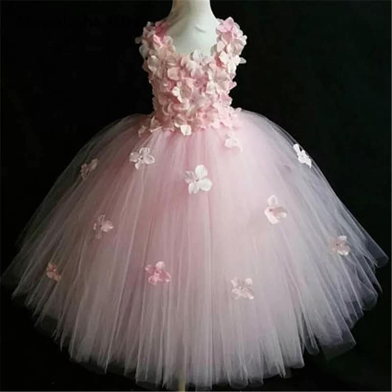 Fuffy Flowers Petal Tulle Girls Wedding Dress
