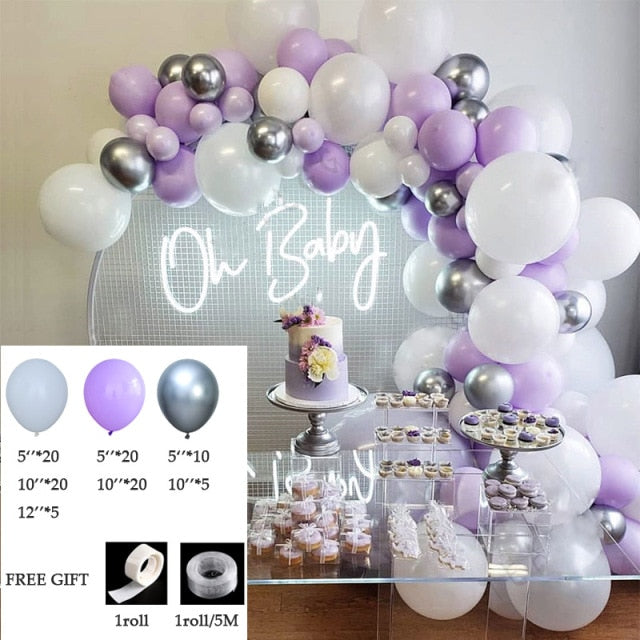 100Pcs Garland Arch Kit Party Decoration Purple Balloons