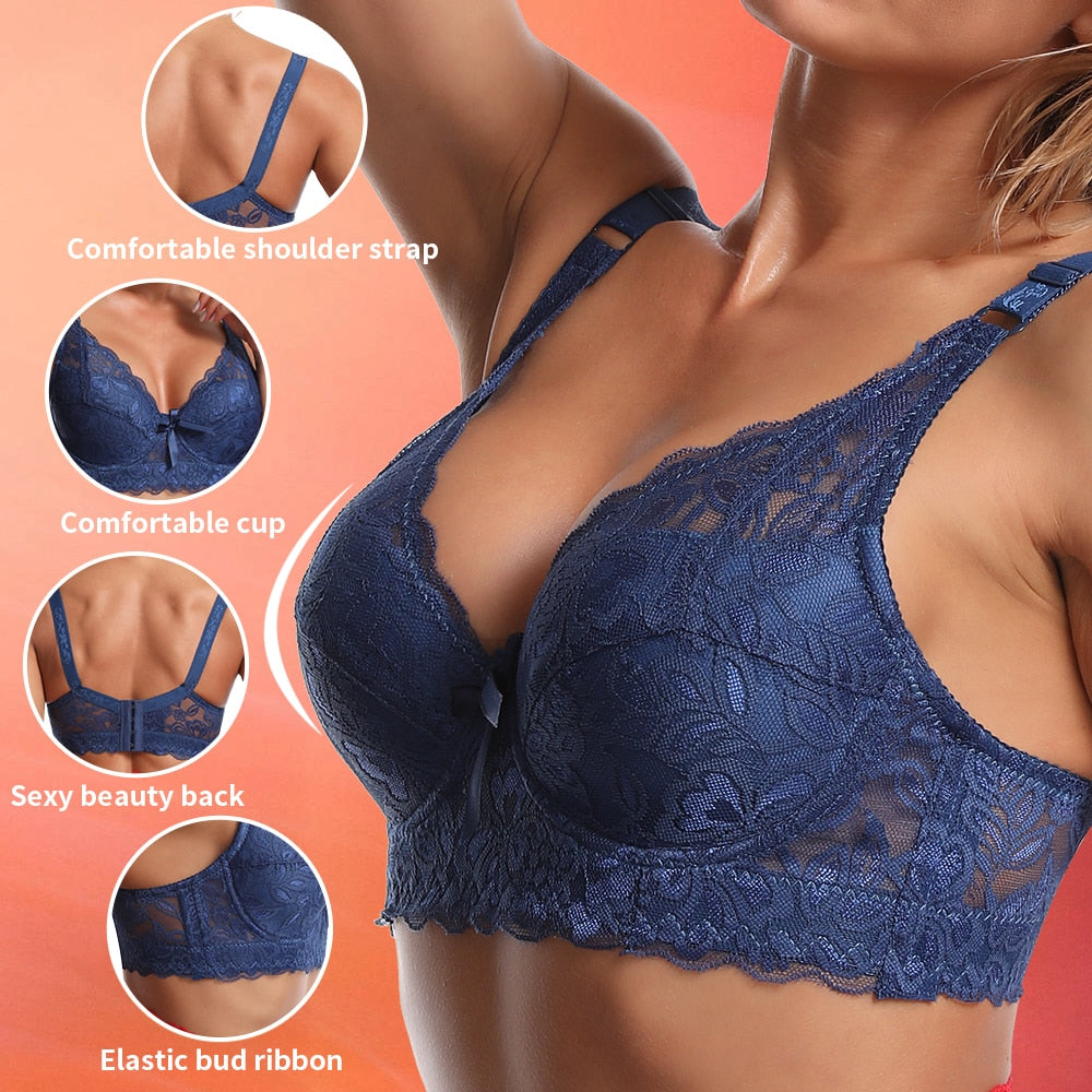 Comfortable Seamless Harness Push Up Lace Bras For Women