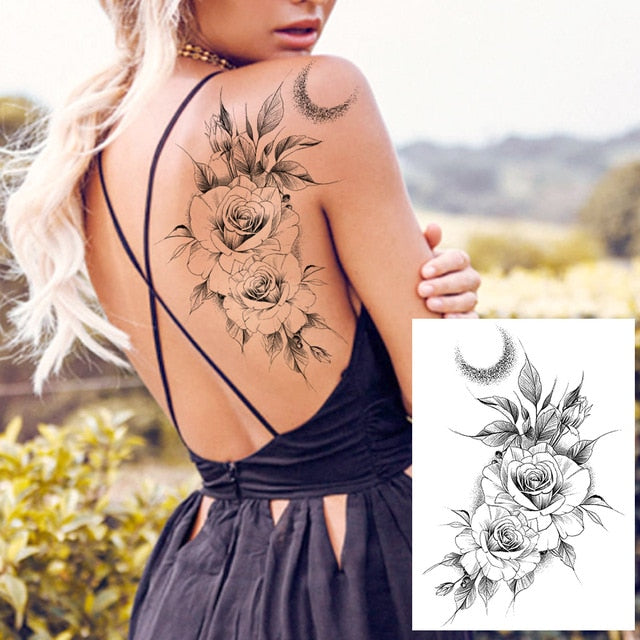 Sexy Lace Lotus Pendants Fake Temporary Tattoos For Women