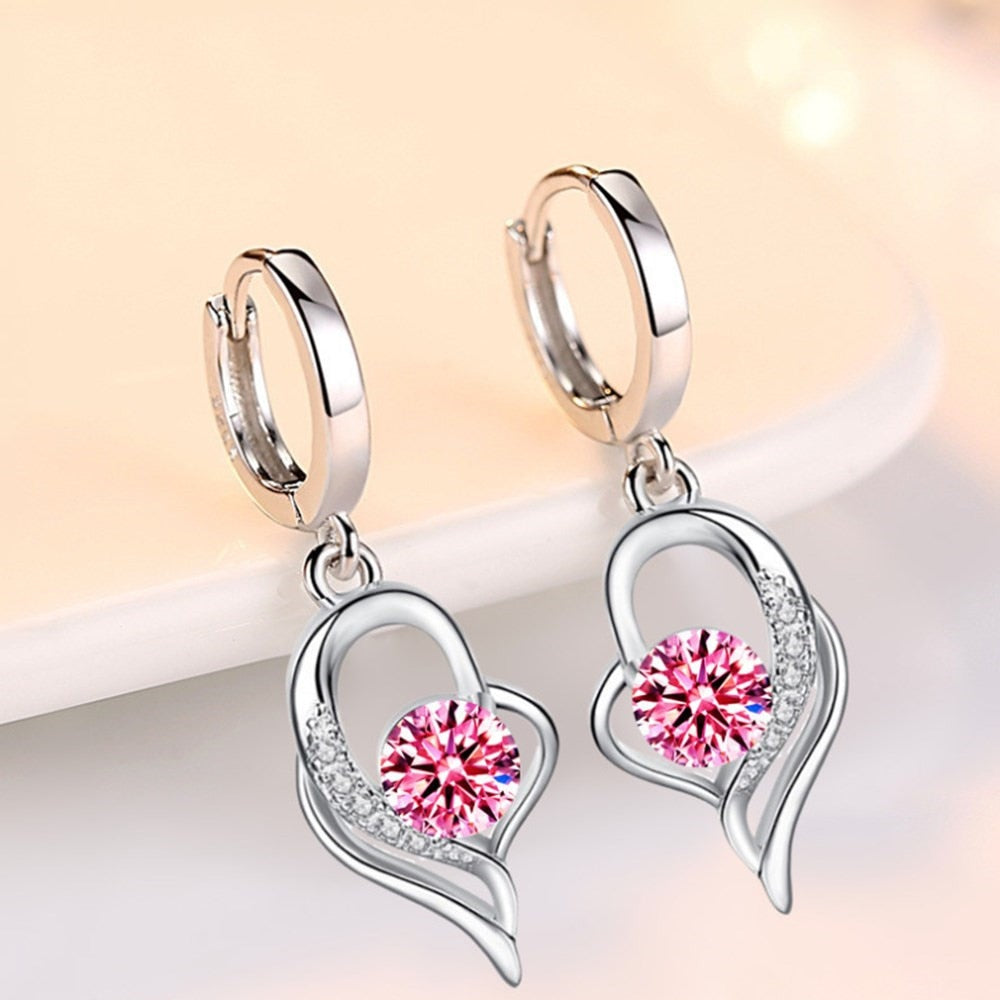 Cute Heart Shape 925 Sterling Silver Pink Women's Drop Earrings