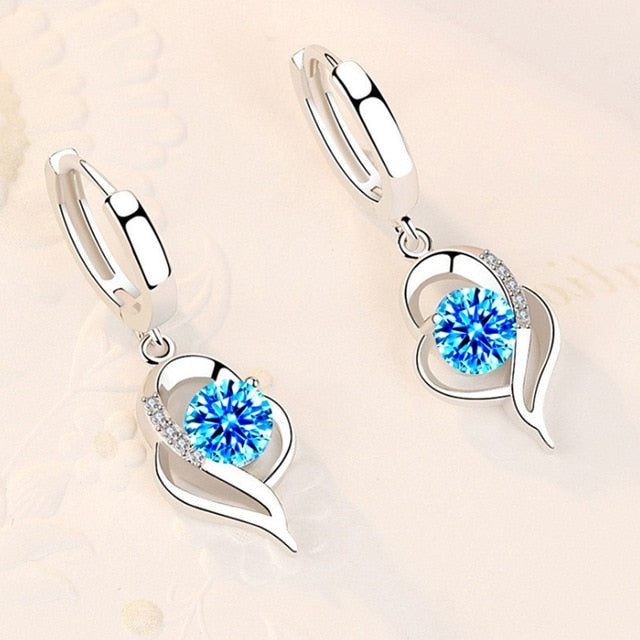 Cute Heart Shape 925 Sterling Silver Women's Drop Earrings