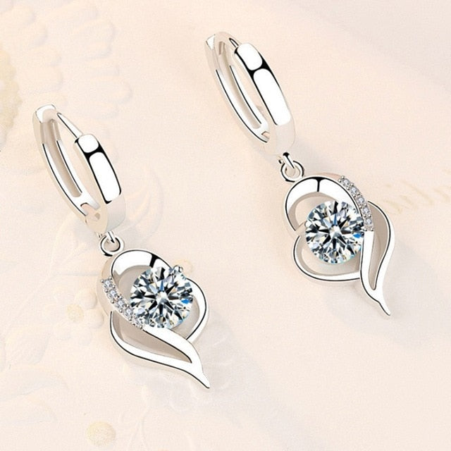 Cute Heart Shape 925 Sterling Silver White Women's Drop Earrings