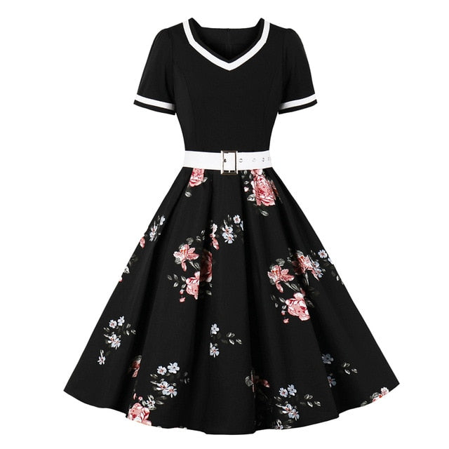 Vintage Rockabilly 50s Floral Pleated Women's Pinup Dress