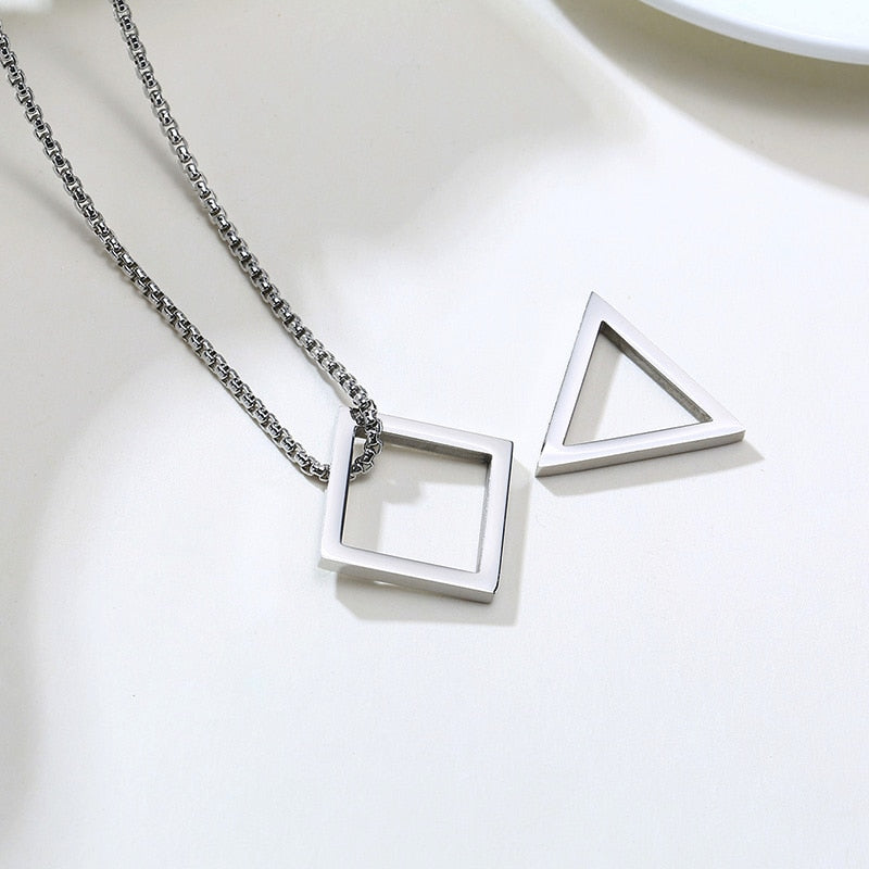 Trendy Square Triangle Interlocking Stainless Steel Men's Necklace