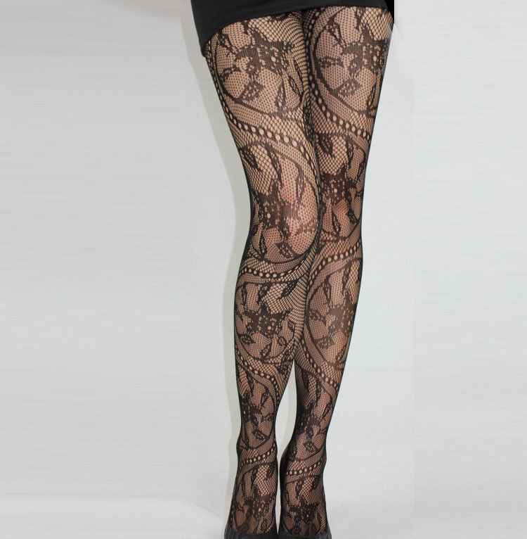 Fishnet Lace Floral Black Women's Stockings