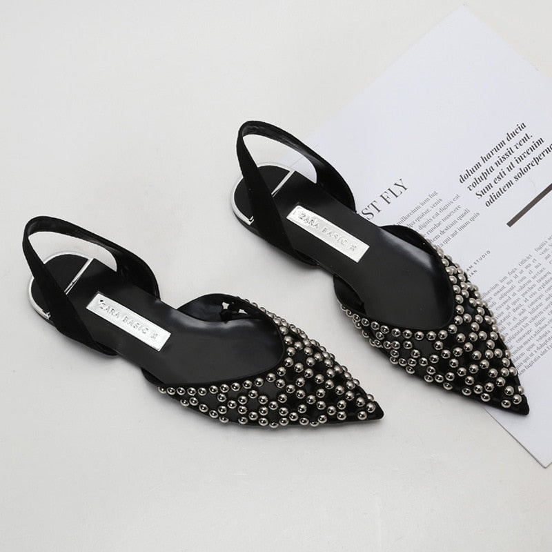 Hollow Rivet Pointed Toe Black Women's Slingbacks Sandals
