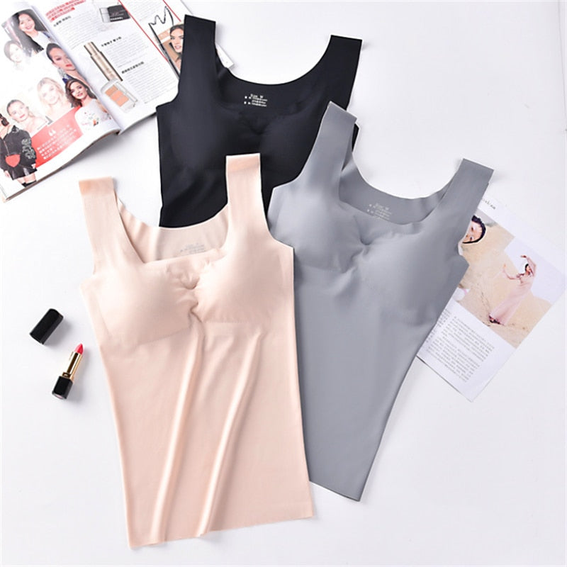 Wireless Seamless Padded Push Up Ice Silk Tank Top For Women