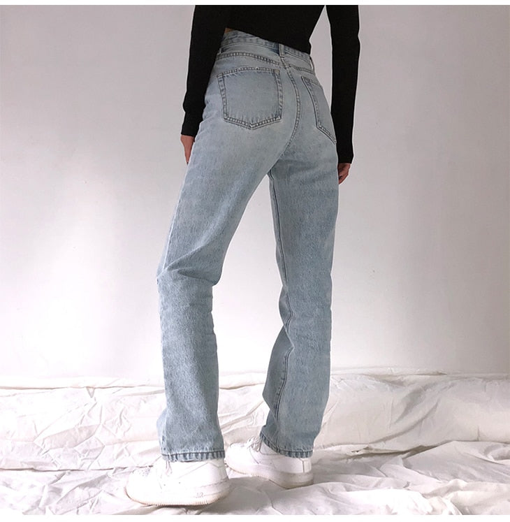 High Waist Loose Washed Boyfriend Jeans For Women