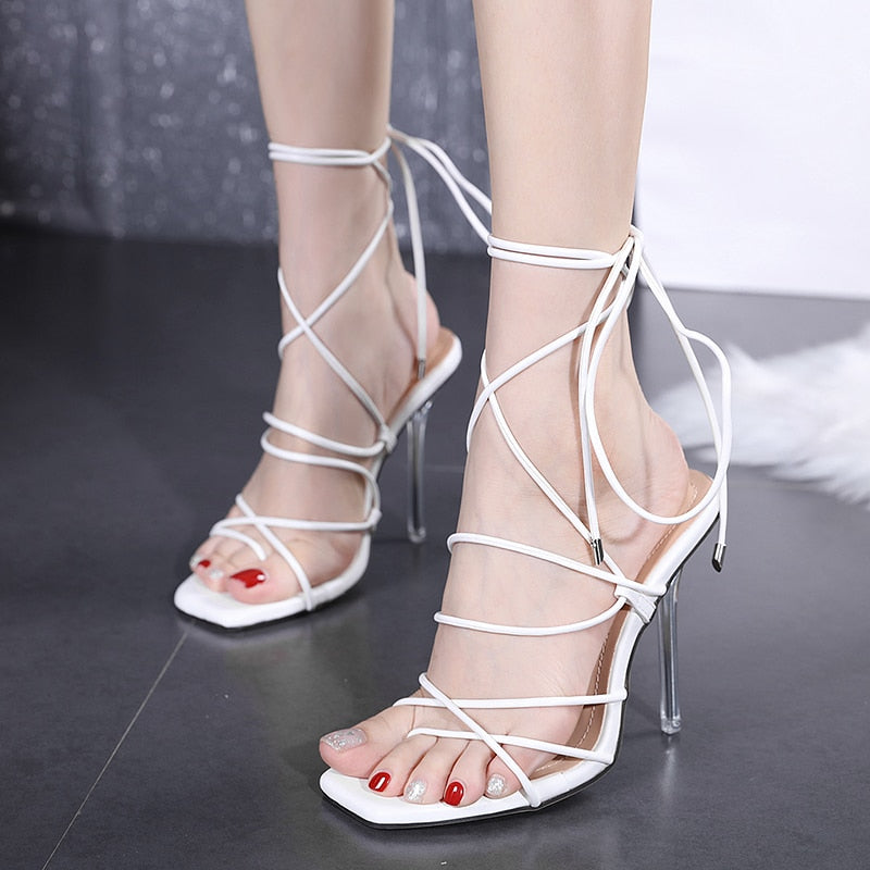 Cross Strap Clear Crystal High Heels Women's White Ankle Pumps