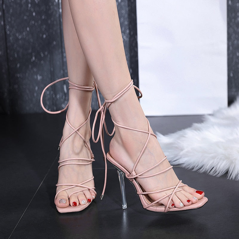 Cross Strap Clear Crystal High Heels Apricot Women's Ankle Pumps