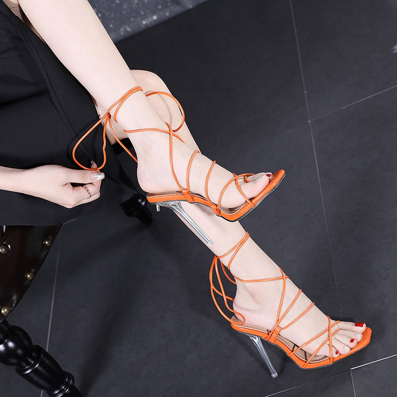 Cross Strap Clear Crystal High Heels Women's Orange Ankle Pumps