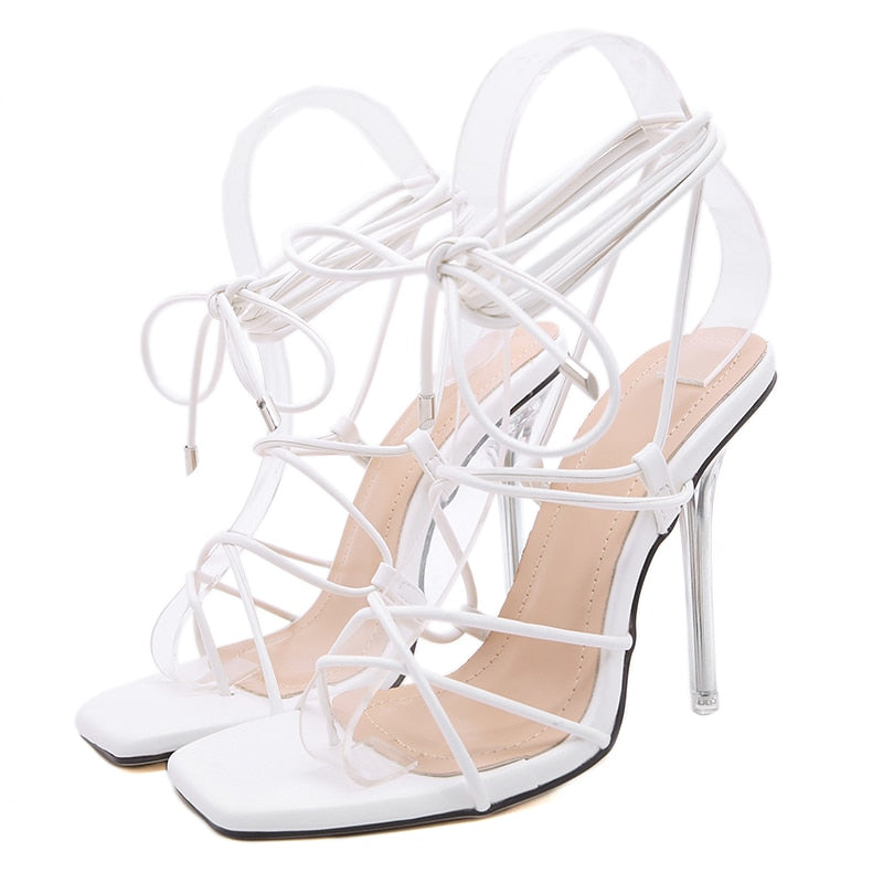 Cross Strap Clear Crystal High Heels Women's Ankle Pumps