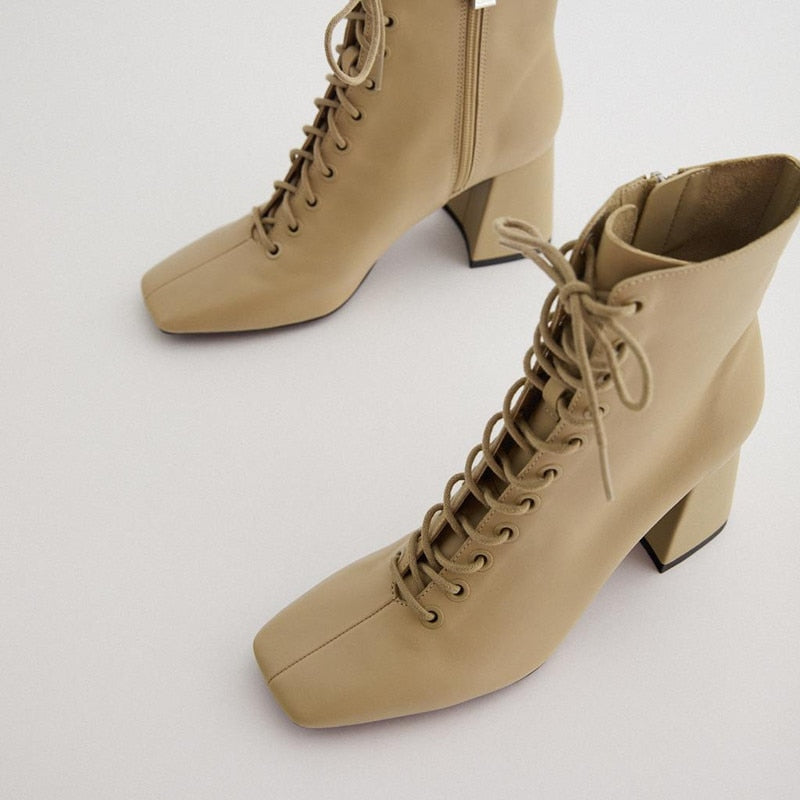 High Heel Chunky Leather Camel Brown Short Boots For Women
