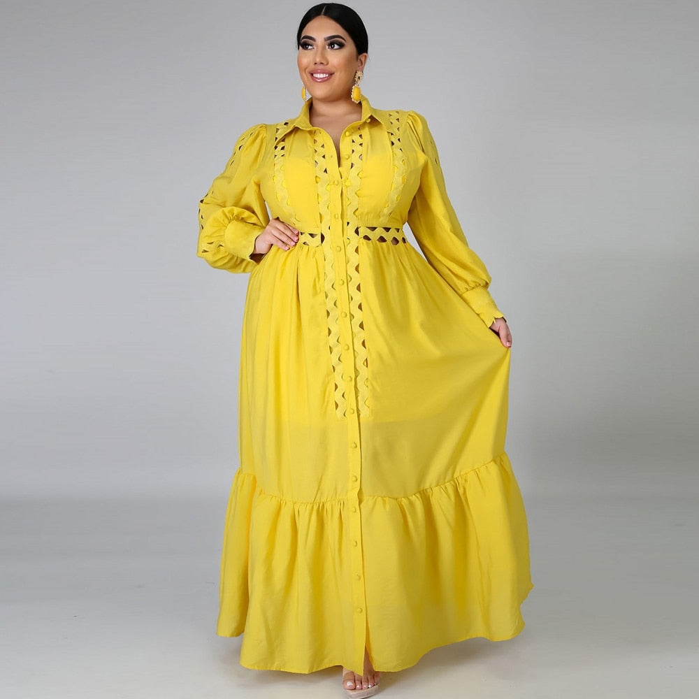 A-Line Single Breasted Hole Yellow Long African Dress