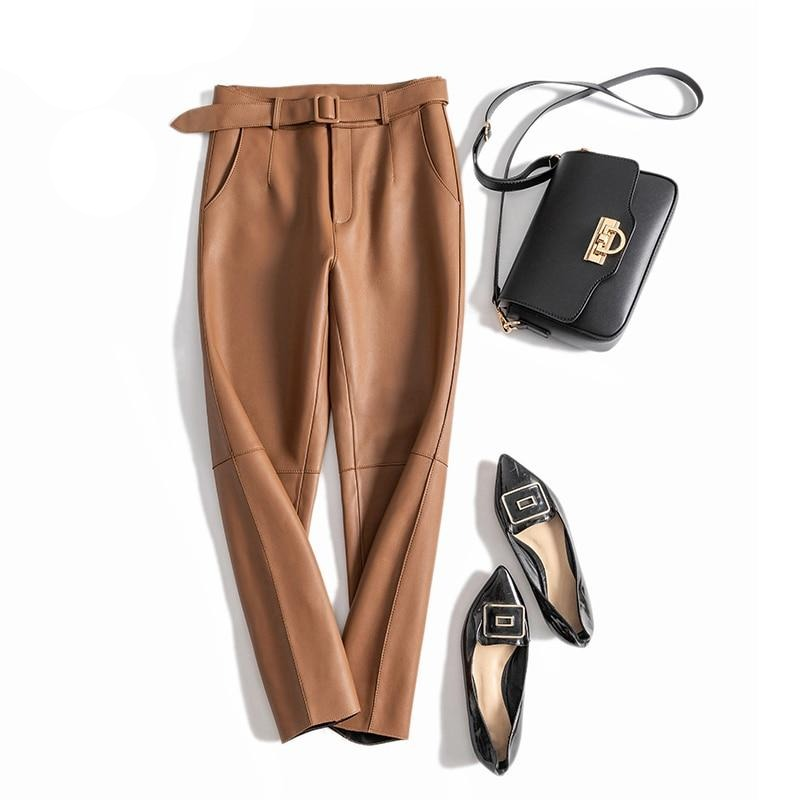 Leather Ankle-Length Brwon Women Pants With Belt