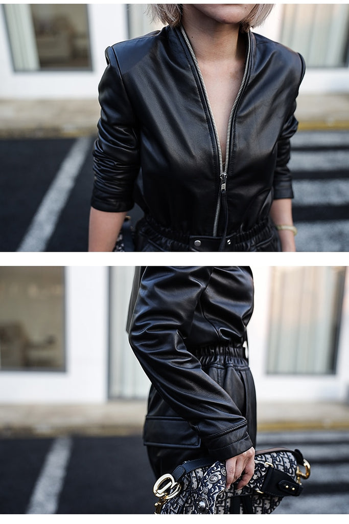 Plus Size Zipper PU Leather Black Jumpsuit For Women