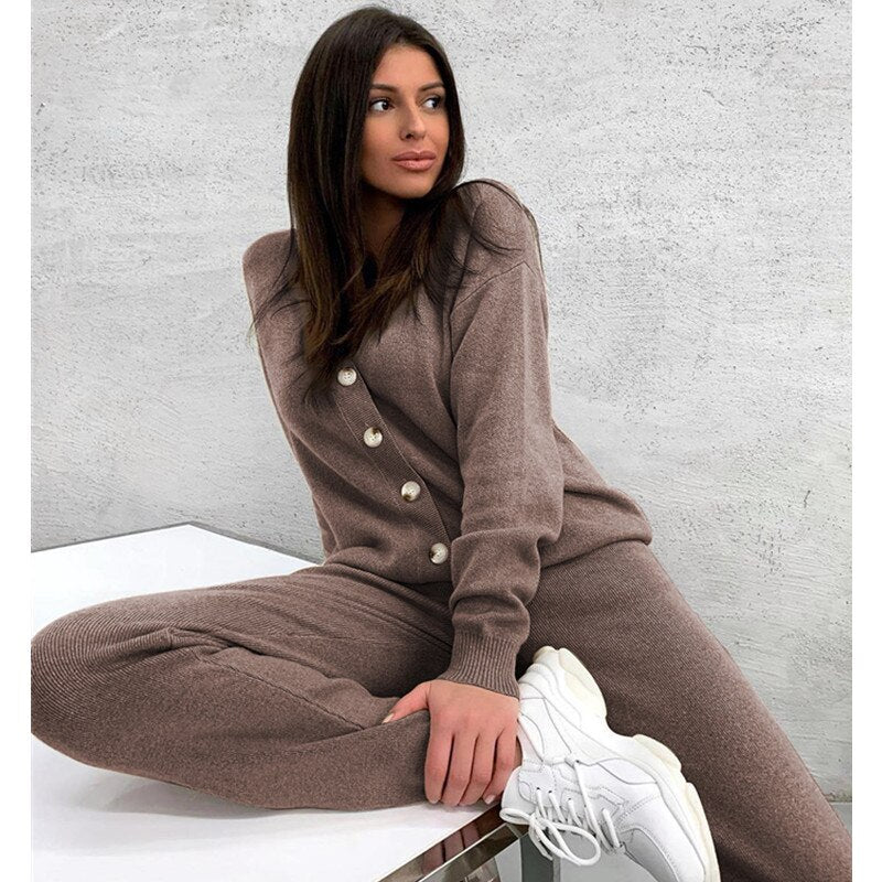 V-Neck Women's Cardigans & Long Pants Warm Women Knitted Suit Set