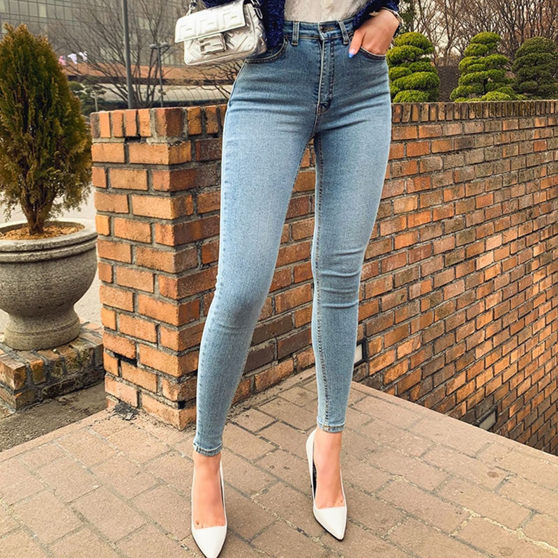 Retro Washed High Waist Stretch Skinny Blue Denim Pants For Women