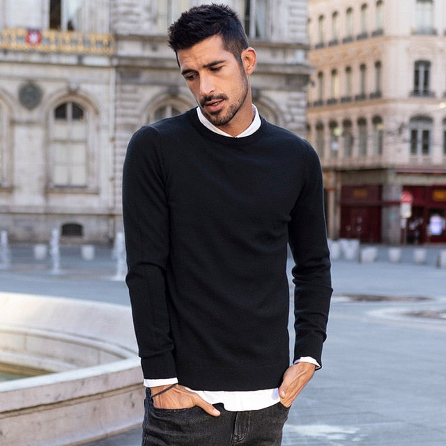 Warm Stretch Solid Color Loose Black Men's Sweater