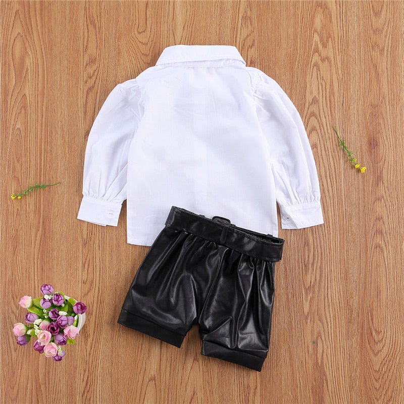 Lace Bowtie Blouse & PU Leather Shorts For Girls