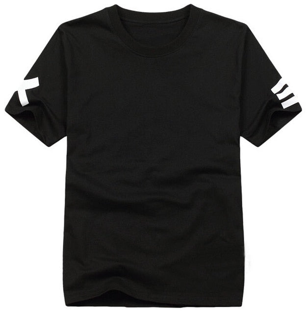 Short Sleeve Bandana Print Hip Hop Men's Black T-Shirt