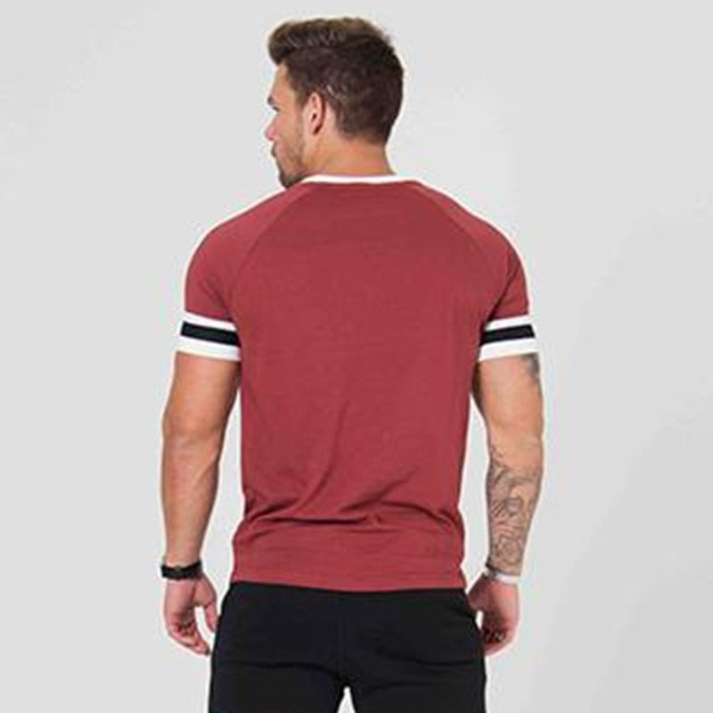 Patchwork Short Sleeve Slim Cotton Men's T-shirt