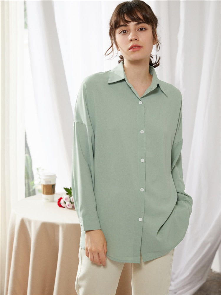 Elegant Lapel Single-Breasted Solid Women's Mint Shirt