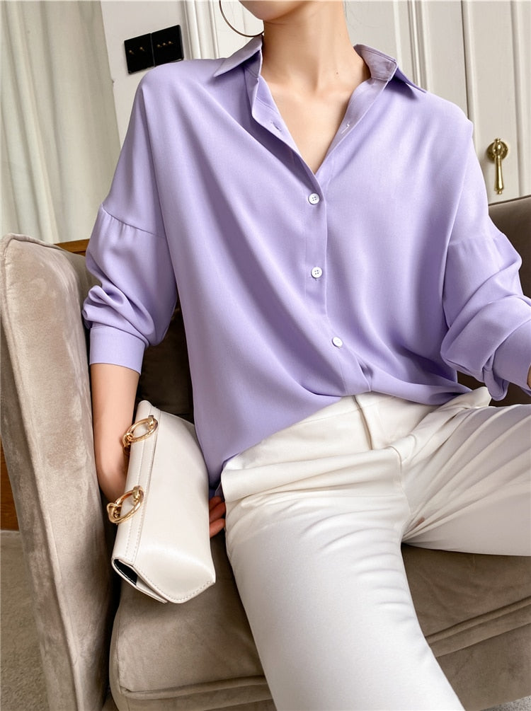 Elegant Lapel Single-Breasted Solid Women's Lavendel Shirt