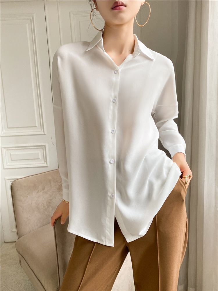 Elegant Lapel Single-Breasted Solid Women's Shirt