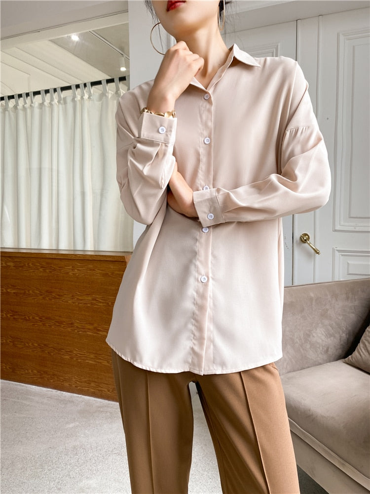 Elegant Lapel Single-Breasted Solid Women's Khaki Shirt
