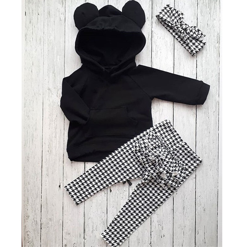 3D Ears Hooded Black Girls Pullover With Ruffles Plaid Pants & Headband