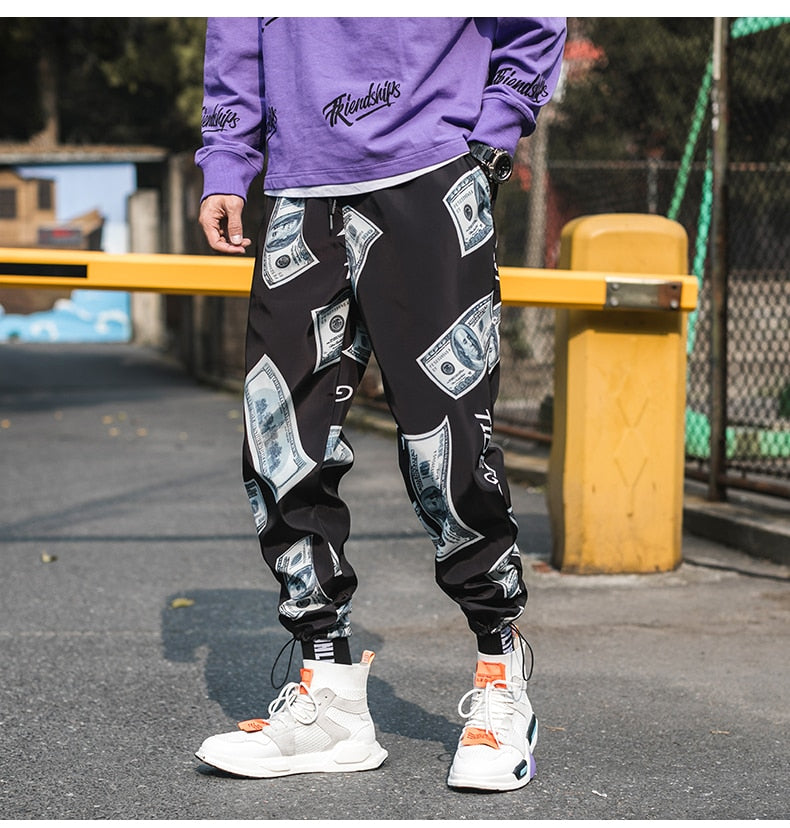 Elastic Waist Printed Hip-Hop Style Men Harem Pants