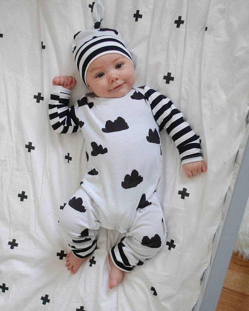 Unisex Long Sleeve Cartoon Baby Jumpsuit With Hat
