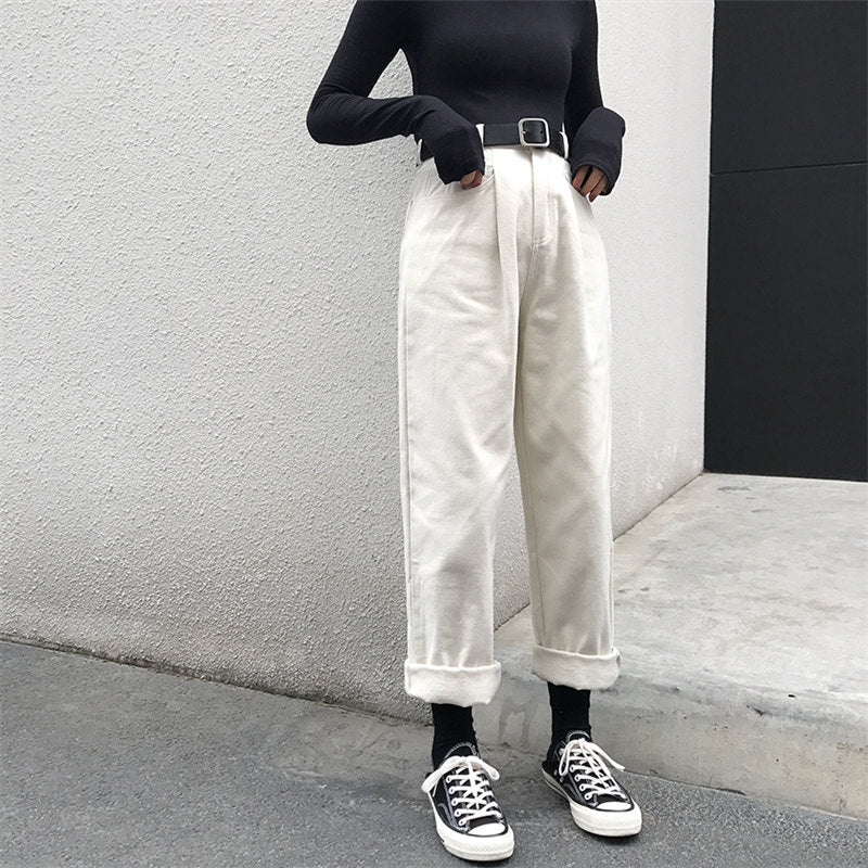 High Waist Loose Thin Ankle-Length Beige Women's Pant