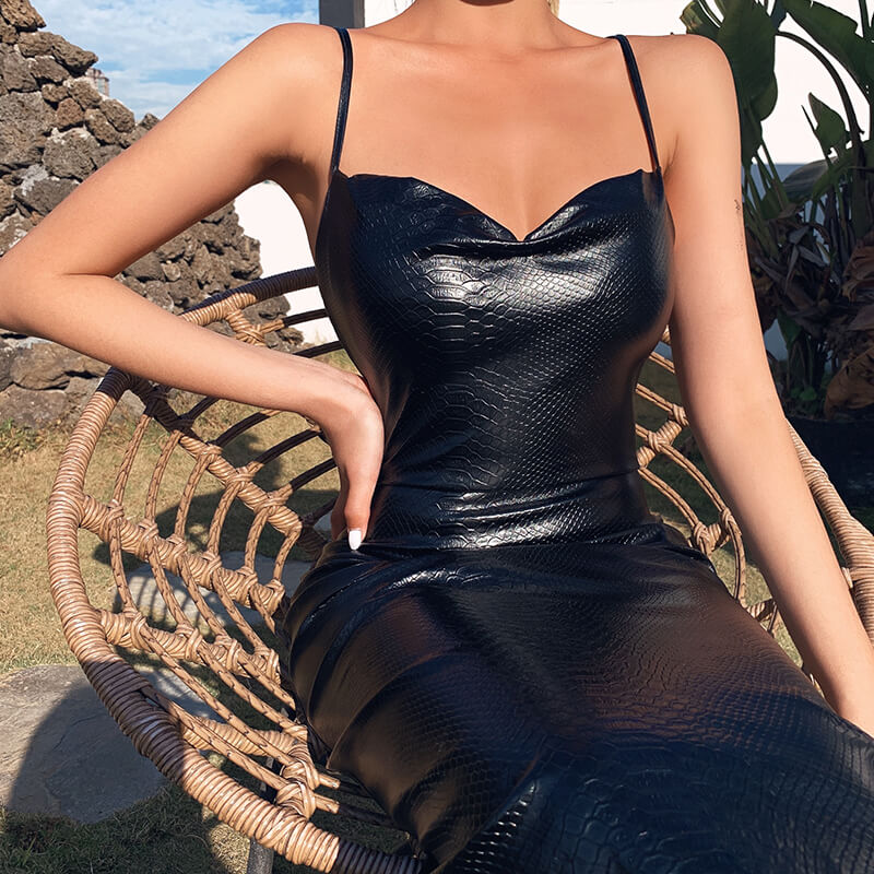 Spaghetti Strap Bodycon Black Pu Leather Knee-Length Dress