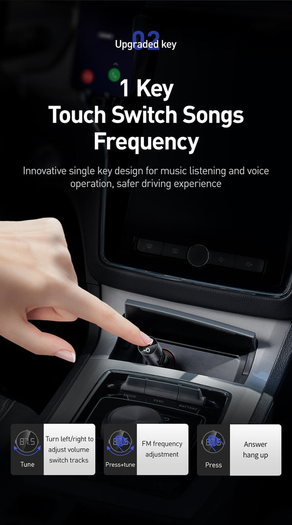 Handsfree Wireless Bluetooth 5.0 Baseus FM Car Transmitter