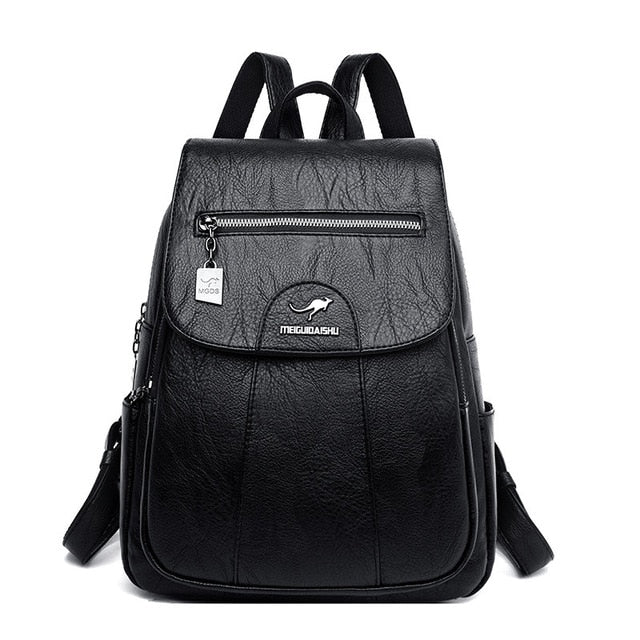 Vintage Genuine Leather Black School Backpack For Women