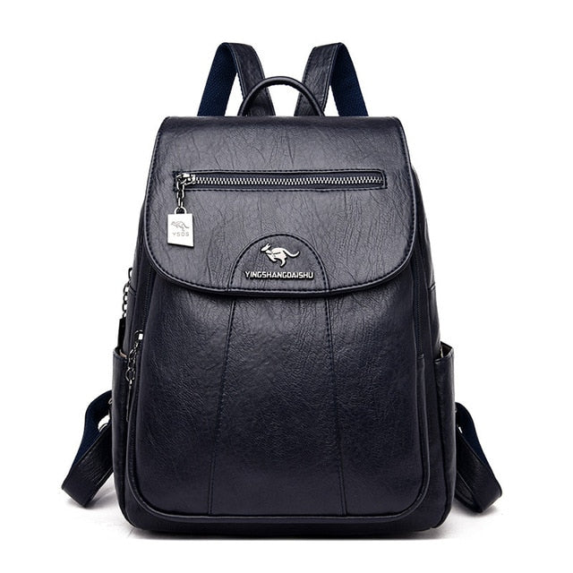 Vintage Genuine Leather School Backpack For Women