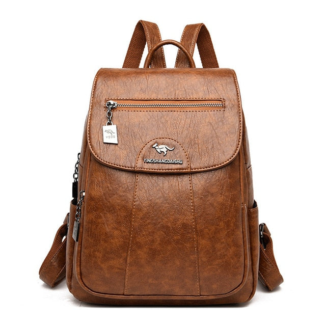 Vintage Genuine Leather Brown School Backpack For Women