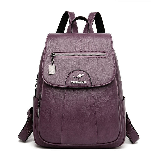 Vintage Genuine Leather Wine Red School Backpack For Women