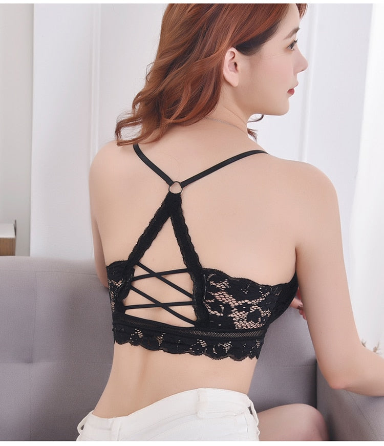 Wireless Hollow Out Lace Padded Black Bra
