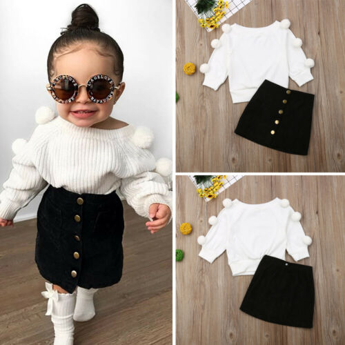 Warm Hairball Knitted Tops & Button Mini Skirt For Girls