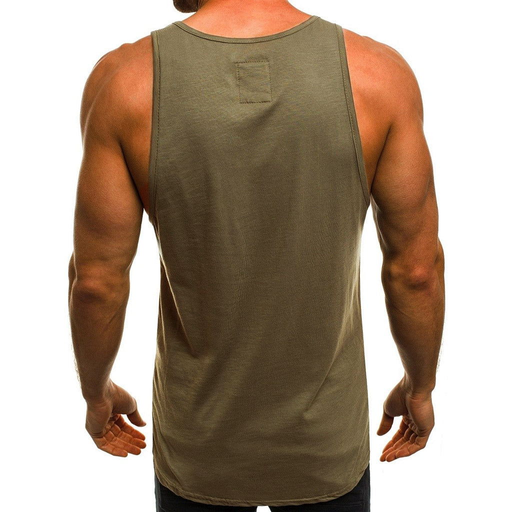 Sleeveless Slim Letter Printed Men's Gym Tank Top