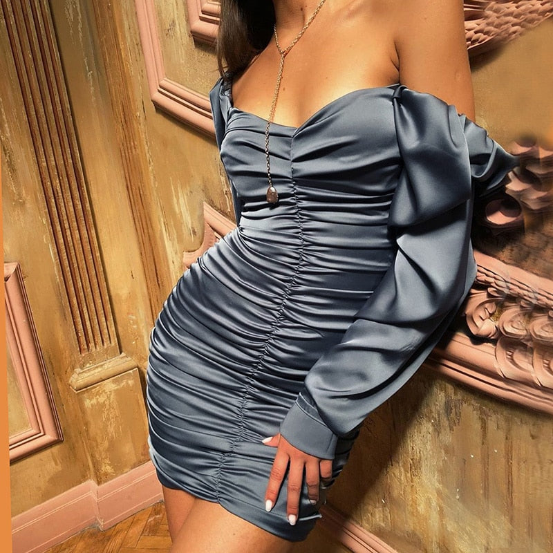 Puff Sleeve Slash Neck Satin Pleated Mini Dress