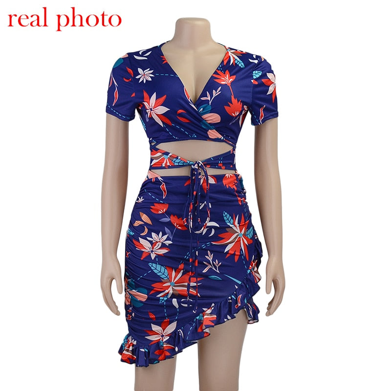 Asymmetrical Floral Print Ruched Ruffles Wrap Mini Sundress