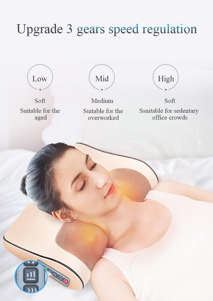 Electric Infrared Heating Neck Shoulder Back Body Shiatsu Massage Pillow