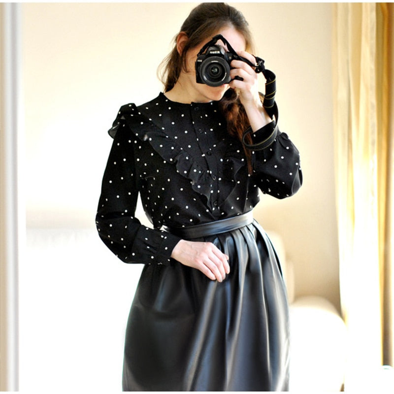 Elegant Ruffle Loose Polka Dot Women's Black Blouse