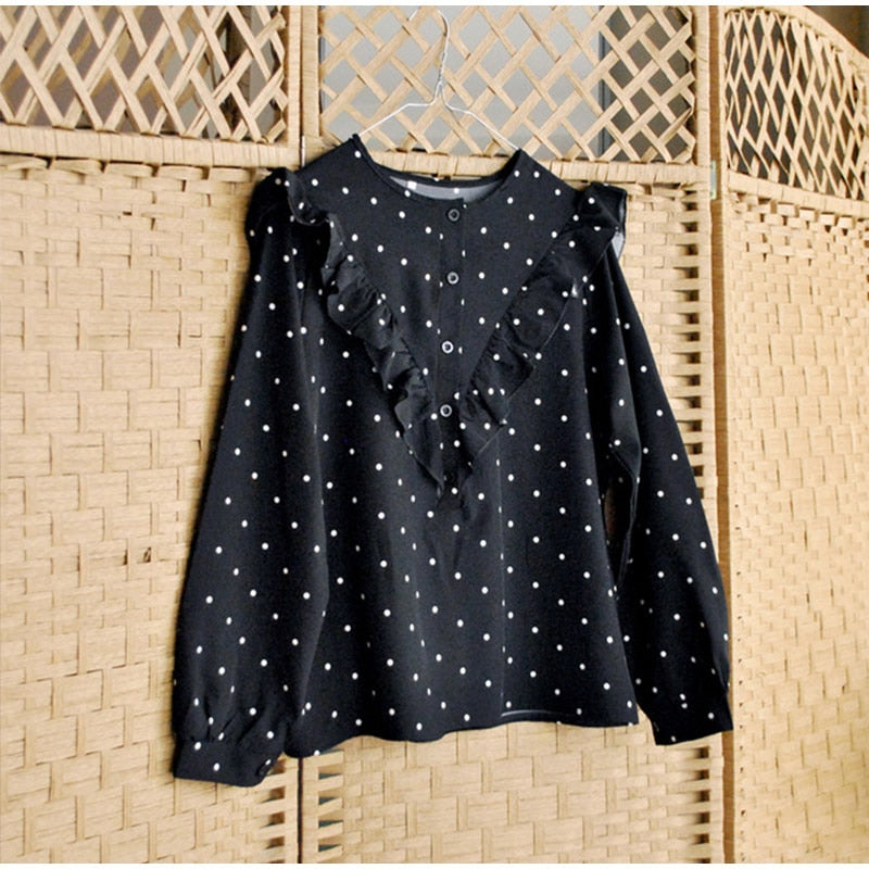 Elegant Ruffle Loose Polka Dot Women's Blouse